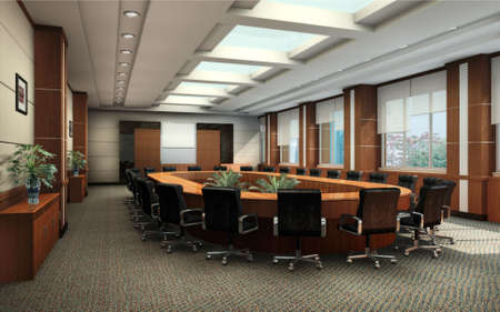 conference room: conference room with black armchairs interior 3d render