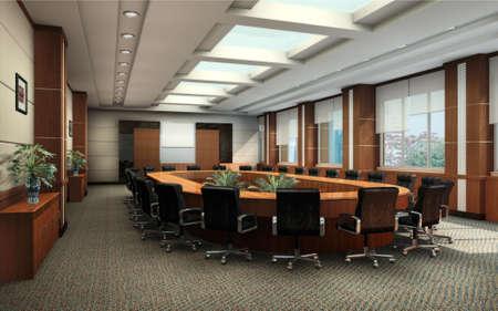 Sala konferencyjna z czarnym fotele wnÄ™trz 3d renderowania