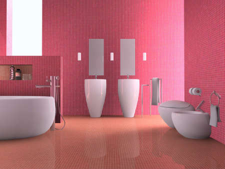 closestool: 3d rendering interior of a bathroom  Stock Photo