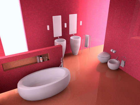 3d rendering inter of a bathroom  Stock Photo - 7610714