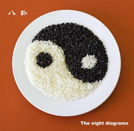 fengshui: Bagua diagram rice Stock Photo