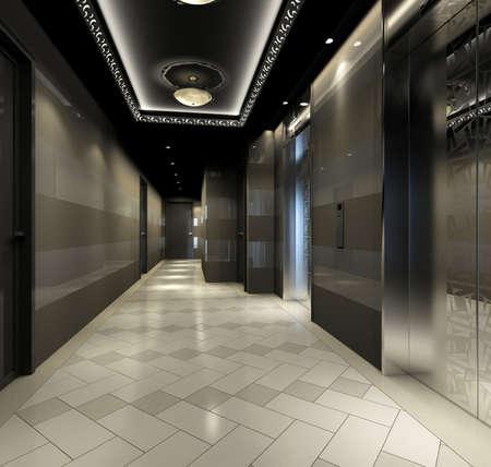 hotel hall: Modern corridor interior image (3D rendering)
