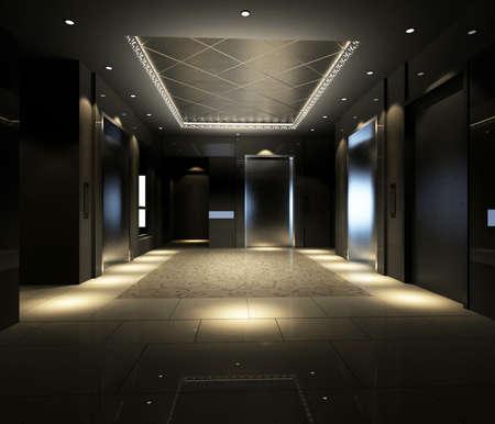 couloirs: Modern corridor int�rieur image (rendu 3D)