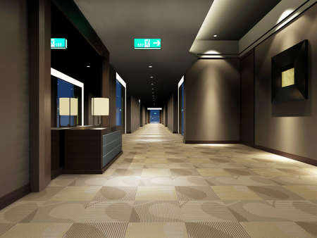 Modern corridor interior image (3D rendering) photo