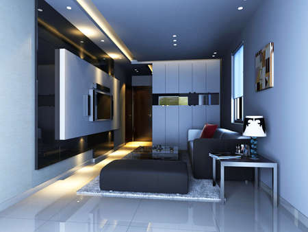 Interior fashionable living-room 3D rendering photo