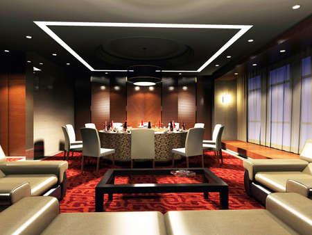 white bars: restaurant 3D rendering Stock Photo