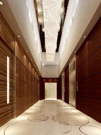 Modern corridor interior image (3D rendering) Stock Photo - 8299084