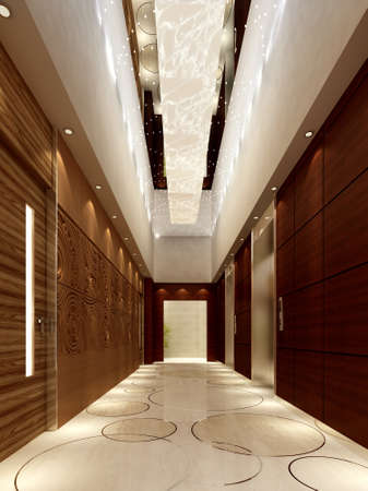 Modern corridor interior image (3D rendering) Stock Photo - 8299084