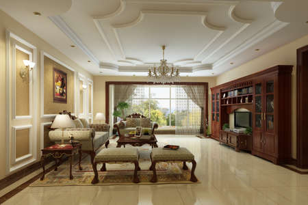 luxury hotel room: rendering Living room of luxury suite