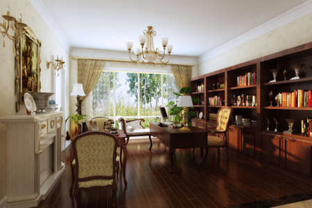 rendering Living room of luxury suite  photo