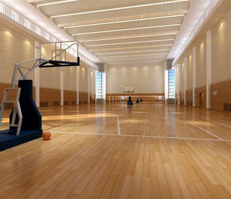cancha de basquetbol: cancha de baloncesto de procesamiento  Foto de archivo