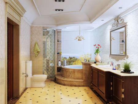 3d rendering of the bathroom interior in Morocco's style  版權商用圖片