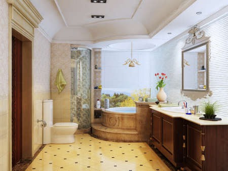 3d rendering of the bathroom interior in Moroccos style  photo