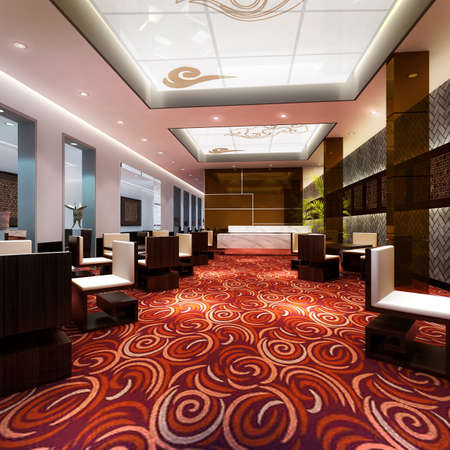 rendering Hotel hall Stock Photo