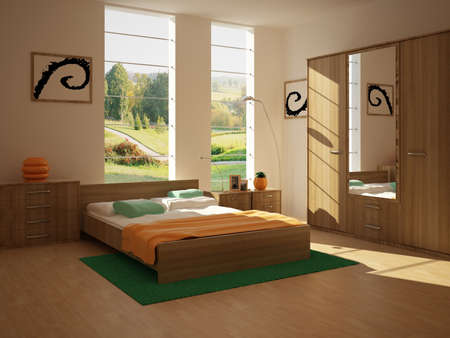 eclecticism: rendering of the modern bedroom