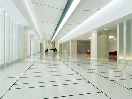 futuristic interior: Modern business hall design interior