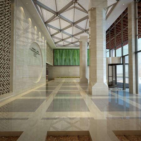 shiny floor: Modern business hall design interior