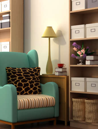 neat: Interior fashionable living-room rendering  Stock Photo