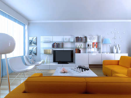 home office: Interior fashionable living-room rendering  Stock Photo