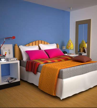 chambre � coucher: rendu de la chambre � coucher moderne  Banque d'images