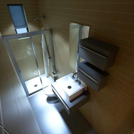 eclecticism: rendering bathroom Stock Photo