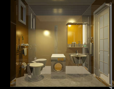 3dmax: rendering bathroom Stock Photo