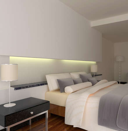 rendering of home interior focused on bed room Stock Photo - 8972112