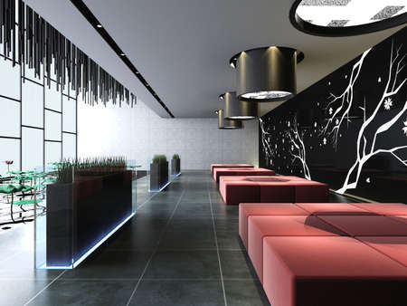 modern house interior: rendering  hall of a hotel