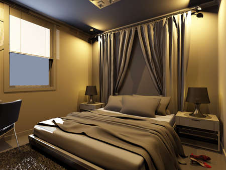rendering of home interior focused on bed room Stock Photo - 8972106