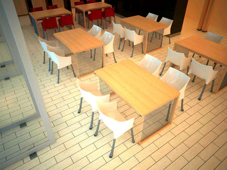 render interior of a restaurant  photo