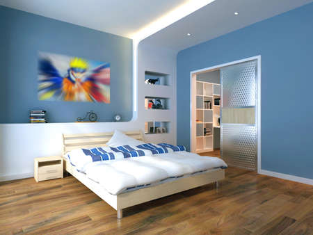 rendering of home interior focused on bed room  Stock Photo