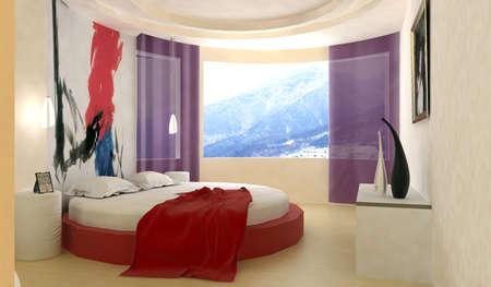 rendering of the modern bedroom Stock Photo - 9062107