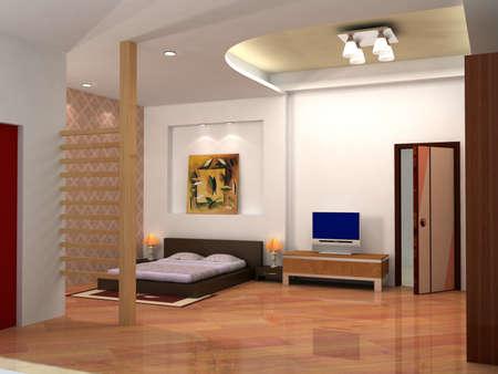 rendering of the modern bedroom  photo