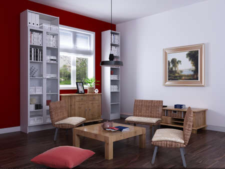 tidy: Interior fashionable living-room rendering  Stock Photo