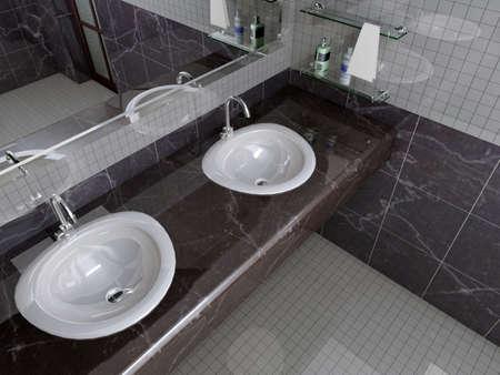 rendering of the modern bathroom interior Stock Photo - 9062123
