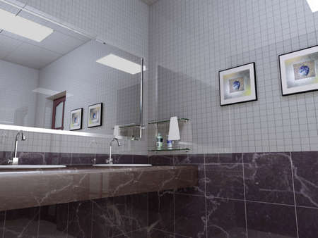rendering of the modern bathroom interior Stock Photo - 9062121