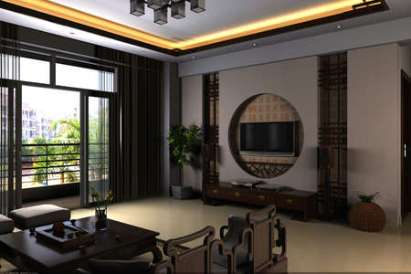 Interior fashionable living-room rendering  Stock Photo
