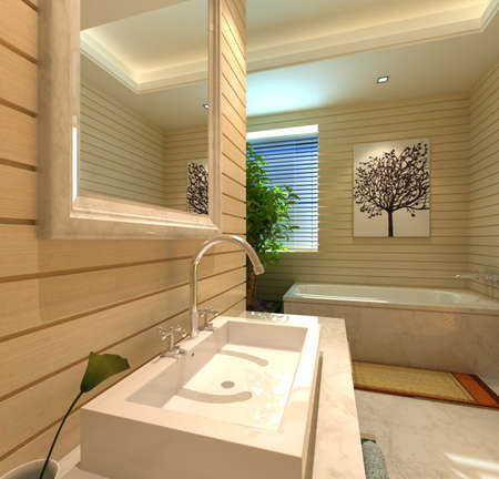 bathroom tile: rendering of the modern bathroom interior Stock Photo