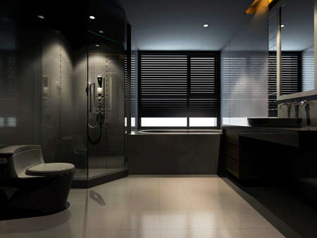 rendering of the modern bathroom interior  photo