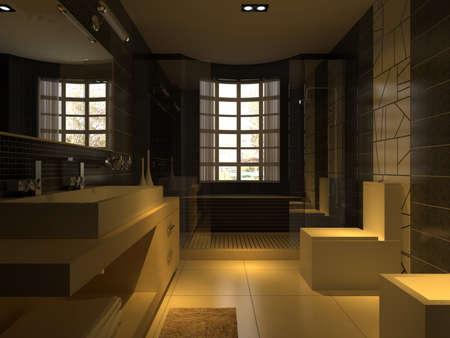 rendering bathroom 版權商用圖片