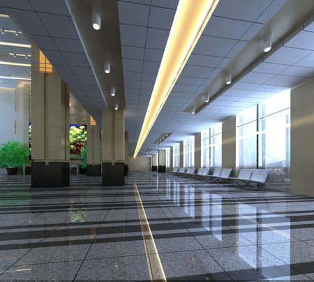 rendering hall in the hotel  photo