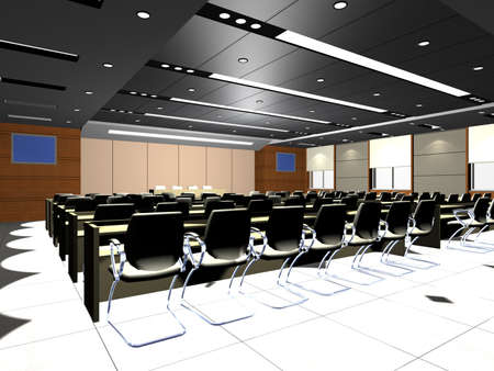 conference room meeting: the computer generated 3d image of the modern conference hall