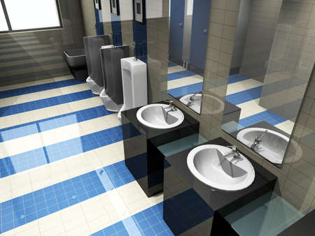 interior of toilet. 3D render photo