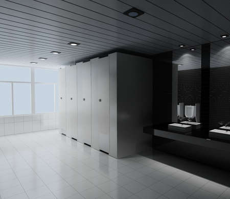 lighting technician: interior of toilet. 3D render