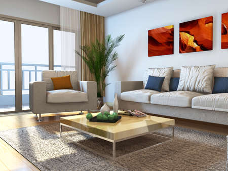 organized home: Interior fashionable living-room rendering  Stock Photo
