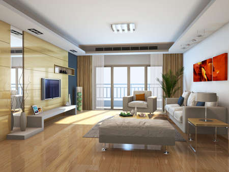 jalousie: Interior fashionable living-room rendering  Stock Photo