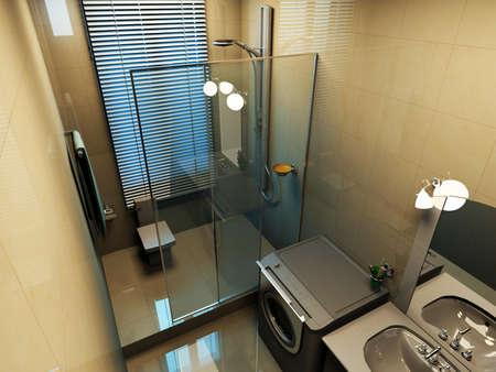 cuarto de ba�o: representaci�n del interior moderno ba�o  Foto de archivo
