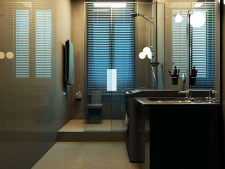 rendering of the modern bathroom interior  Stock Photo