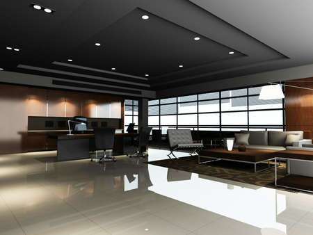 The modern office interior ( rendering) Stock Photo - 9165230