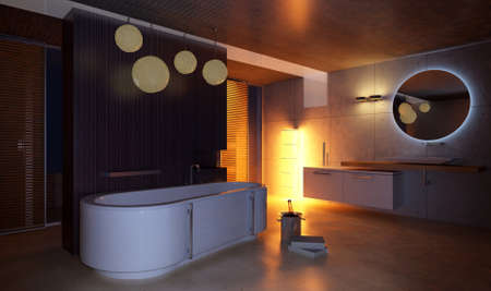 modern interior: 3d rendering of the bathroom interior in Moroccos style